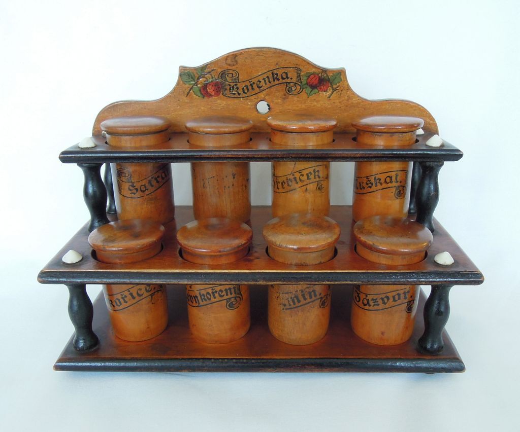 Antique Wooden Racks ~ Antique wood spice rack cabinet treen from