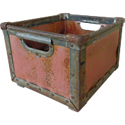 Rare Vintage Nantucket Red Metal Open Crate Storage Bin