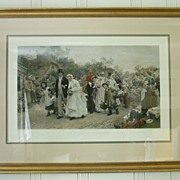 RESERVED FOR NANCY - The Village Wedding Hand Colored Engraving by Sir Samuel Luke Fildes Framed