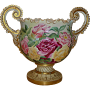 Spectacular Ornate Antique American Belleek Jardiniere Vase Urn Gorgeous Hand Painted Roses