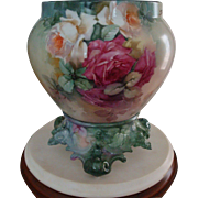 Gorgeous Antique Limoges France Hand Painted Porcelain French Jardiniere Vase  Roses 19th Century