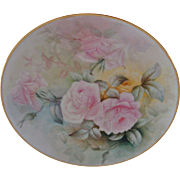 Antique Limoges France Hand Painted Porcelain Charger Tray Plaque Pastel Roses
