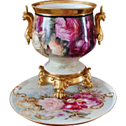 Amazing Antique Limoges France Hand Painted French Porcelain Jardiniere Vase Urn Gorgeous Roses
