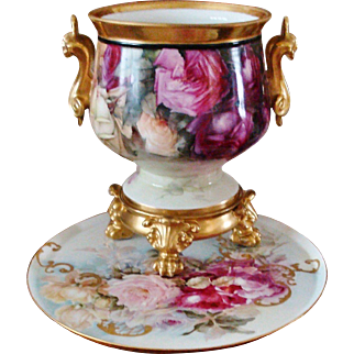 Amazing Antique Limoges France Hand Painted French Porcelain Jardiniere Vase Urn Gorgeous Roses