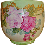 Gorgeous Antique Limoges French Hand Painted Porcelain Jardiniere Planter Vase Roses.
