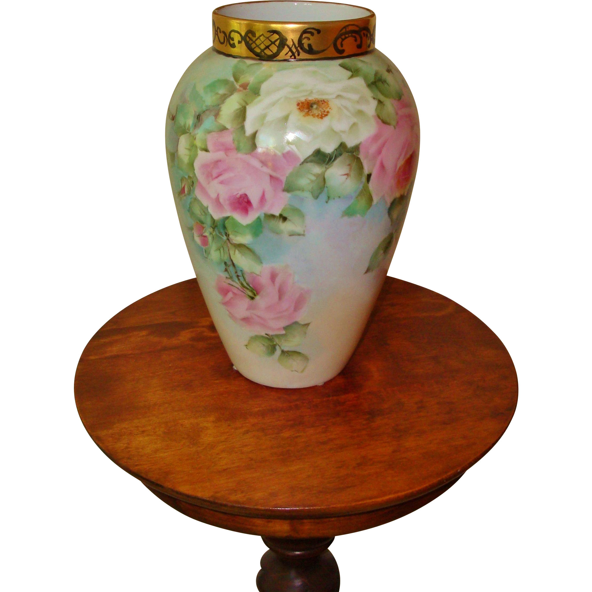 Antique Limoges France Hand Painted Porcelain Vase Pastel Roses