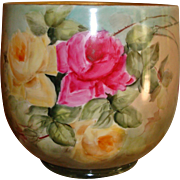 Gorgeous Antique Limoges France Hand Painted Porcelain Jardiniere Vase Urn Roses