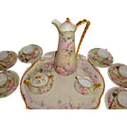 Spectacular Antique Limoges France Complete Cocoa set Chocolate Set with Hand Painted Roses or Peonies. Artist Signed