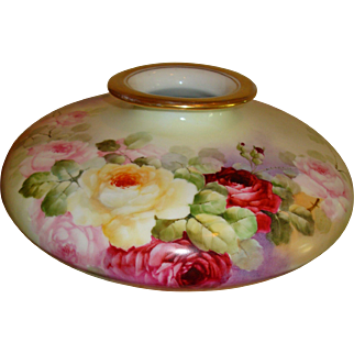 Huge Limoges France Hand Painted Porcelain France Studio Vase Gorgeous Roses