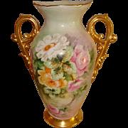 Beautiful Antique Limoges France Hand Painted Large Porcelain Vase Roses