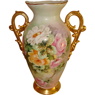 Beautiful Antique Limoges France Hand Painted Large Porcelain Vase Roses