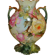 Spectacular Limoges France Antique French Porcelain Mantle Vase Beautiful Roses
