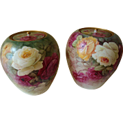 Beautiful Pair of Willets Belleek Gorgeous  Urns Vases Jardiniere Hand Painted Roses