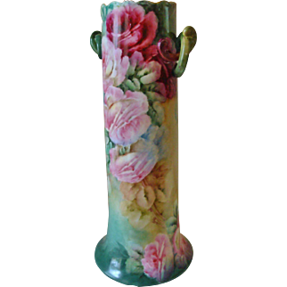 Magnificent Tall Hand Painted Porcelain Vase with Gorgeous Roses