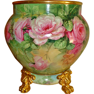 Master China Painter LIMOGES Hand Painted Porcelain  Jardiniere w Base Spectacular Pink Roses Signed by  PICKARD ARTIST Thomas M. (T.M). JELINEK