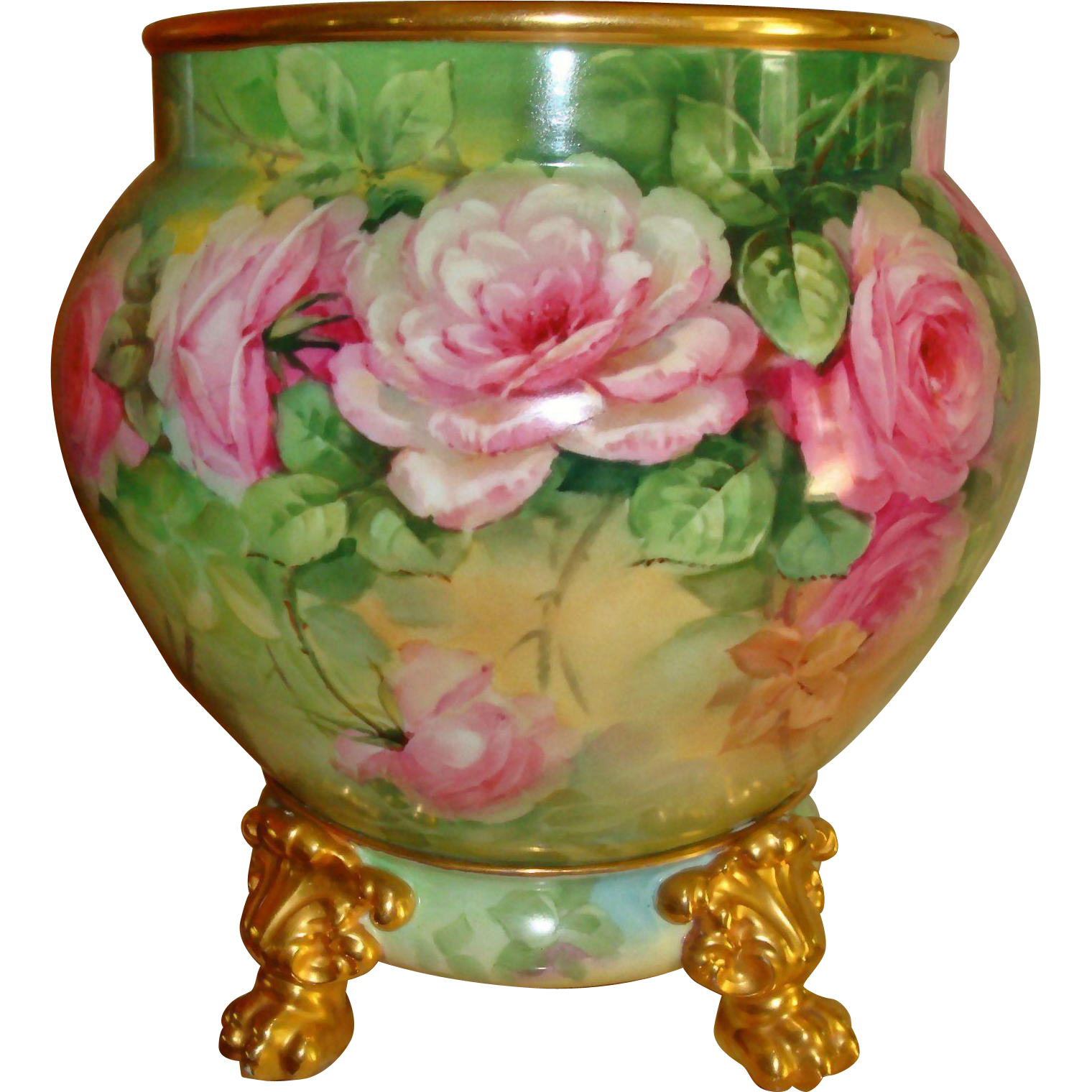 Master China Painter LIMOGES Hand Painted Porcelain  Jardiniere w Base Spectacular Pink Roses Signed by  PICKARD ARTIST Thomas M.  JELINEK  (T.M).