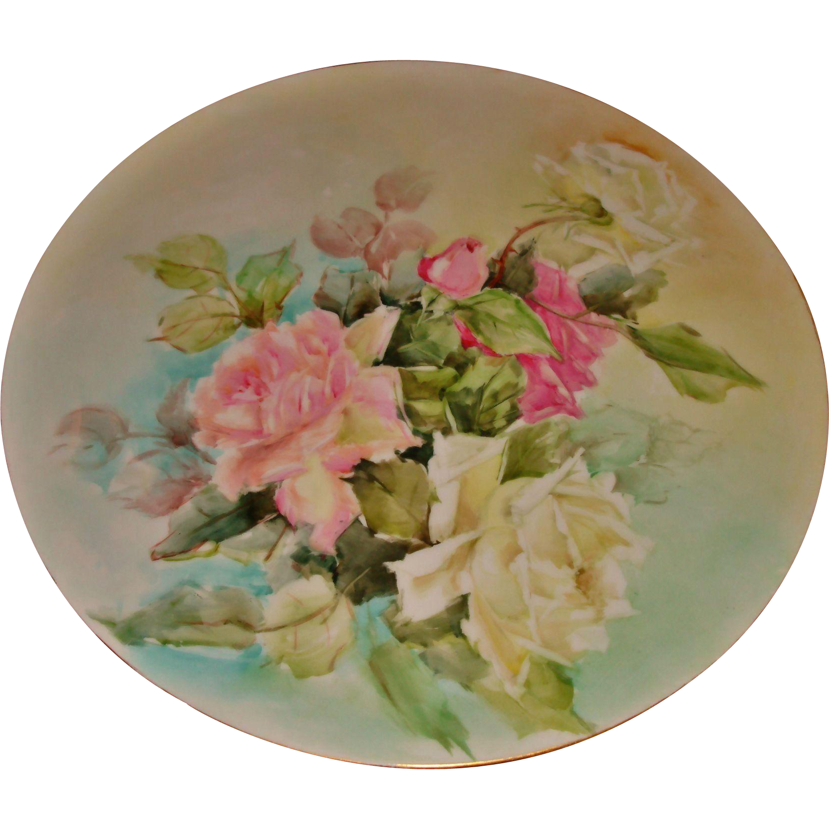 Beautiful Antique Limoges France Hand Painted Porcelain French Tray for Punch Bowl Jardiniere Vase spectacular Roses