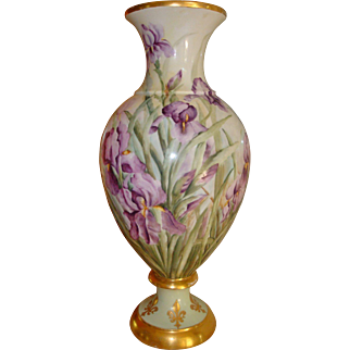 Spectacular Antique Limoges France Hand Painted Porcelain  2 piece Bolted Floor Vase with Gorgeous Iris's