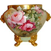 Wonderful Antique Hand Painted Porcelain Jardiniere Urn Vase Gorgeous Roses Artist Signed