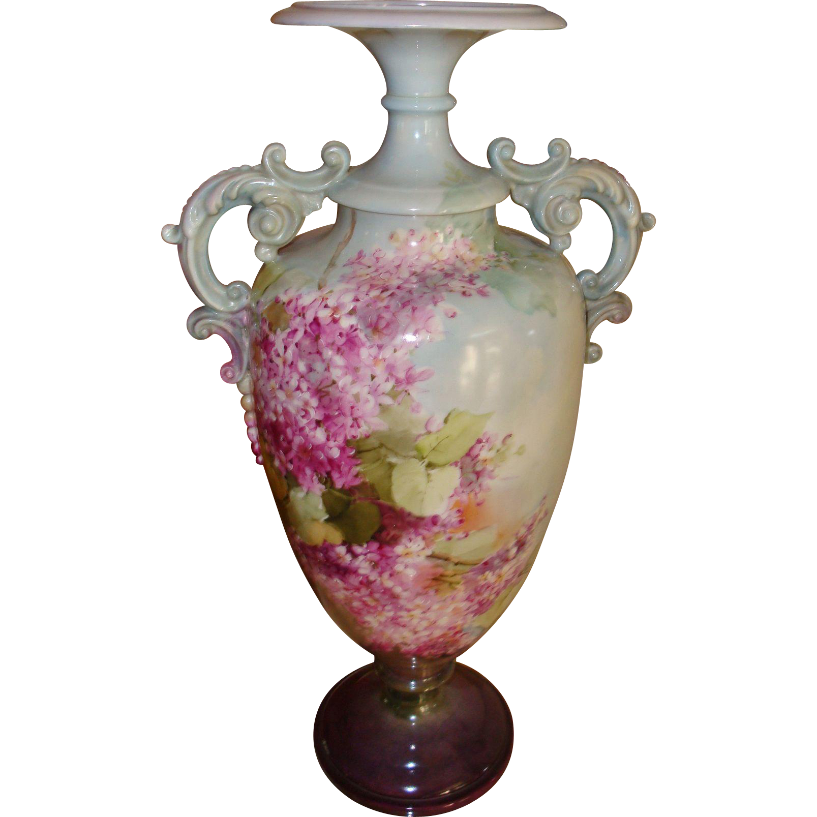 Amazing Antique Belleek Hand Painted Porcelain Vase Lilacs