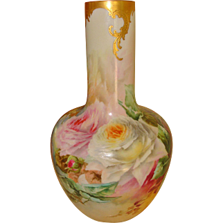 Gorgeous Hand Painted American Belleek Porcelain Vase Roses