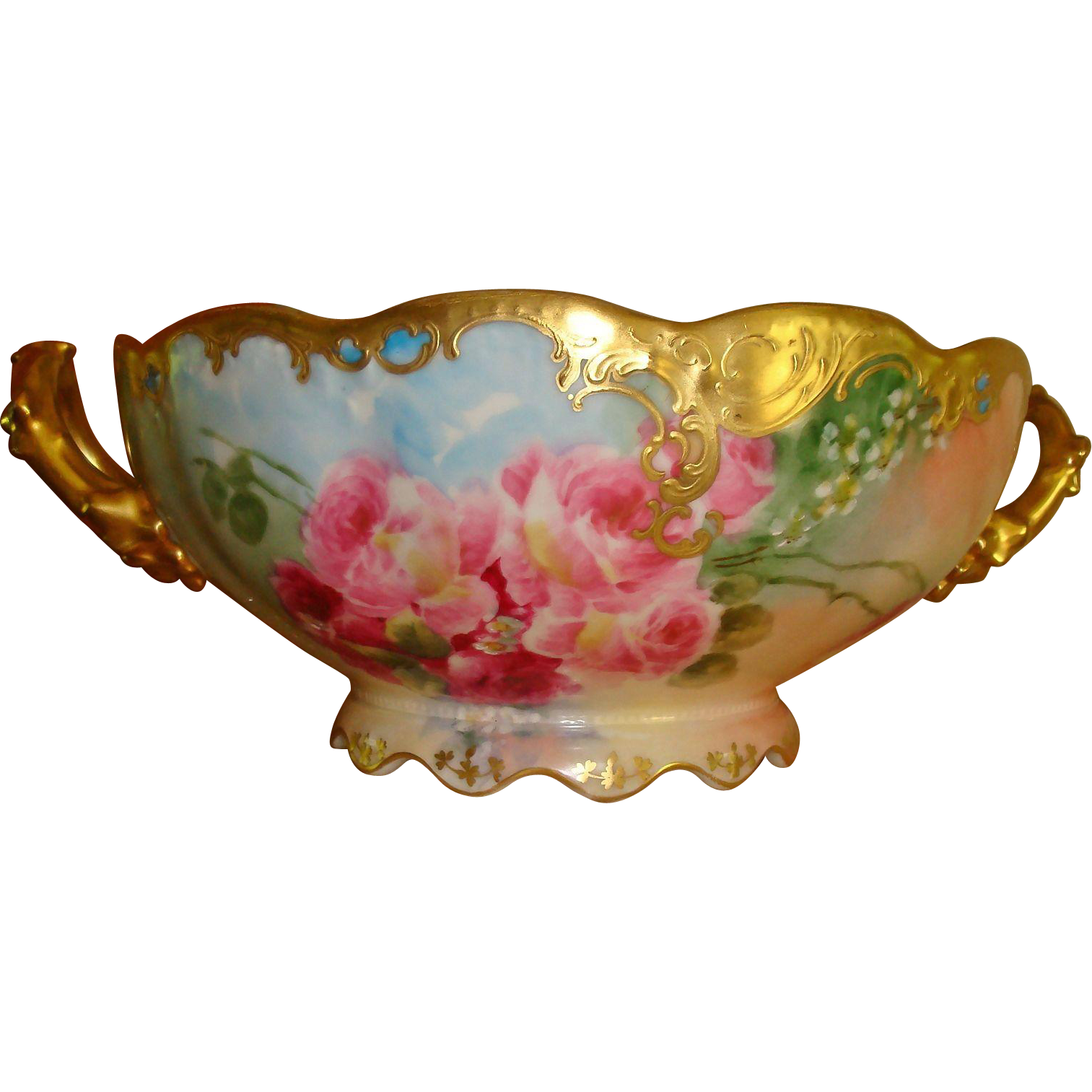Beautiful Limoges France Hand Painted French Porcelain Handled Fruit Bowl- Punch Bowl - Roses Bowl Gorgeous Roses