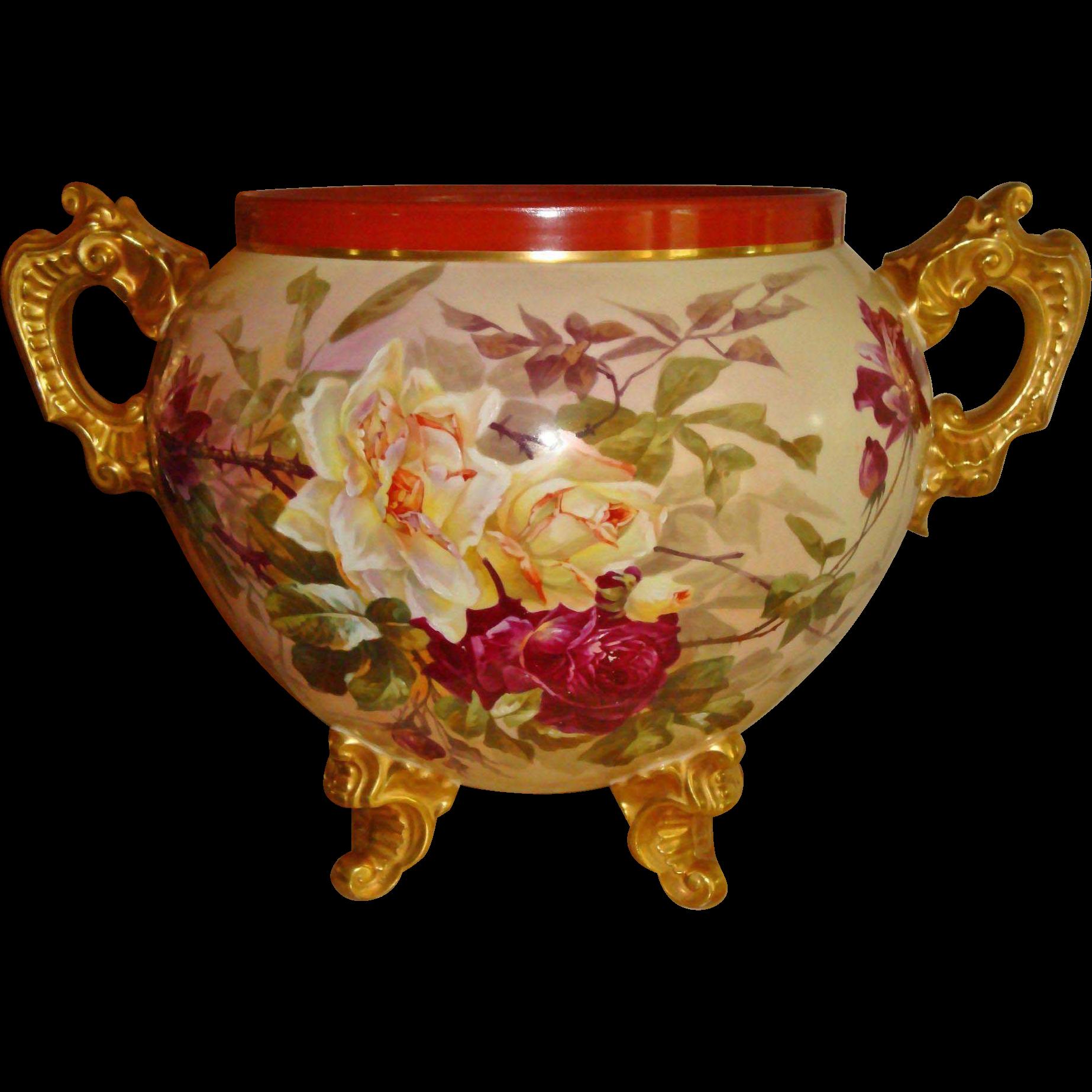 Fantastic Antique Limoges France Large Hand Painted Porcelain Ornate Jardiniere Vase Roses Orchids