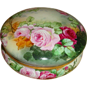 Wonderful Antique Limoges France Hand Painted Victorian Powder Box - Trinket Box -Jewelry Box -Dresser Box with Roses