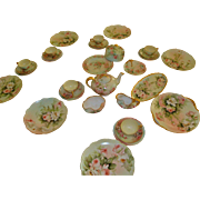 Spectacular Complete Luncheon Set Hand Painted Limoges France Signed E. Miler Gorgeous Roses