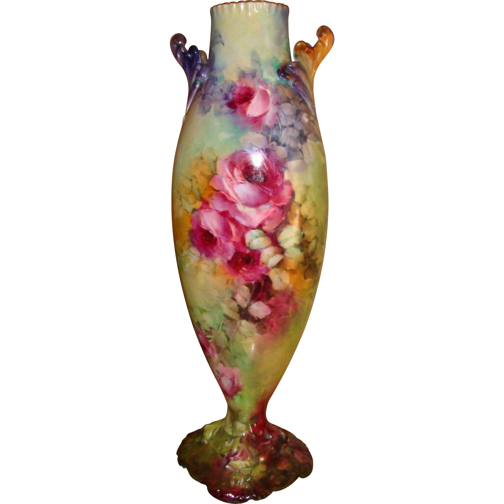 Phenomenal Antique Limoges France Hand Painted Porcelain Victorian Vase Superb Roses