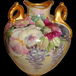 Beautiful Lenox American  Belleek Hand Painted Porcelain Vase Roses Wisteria