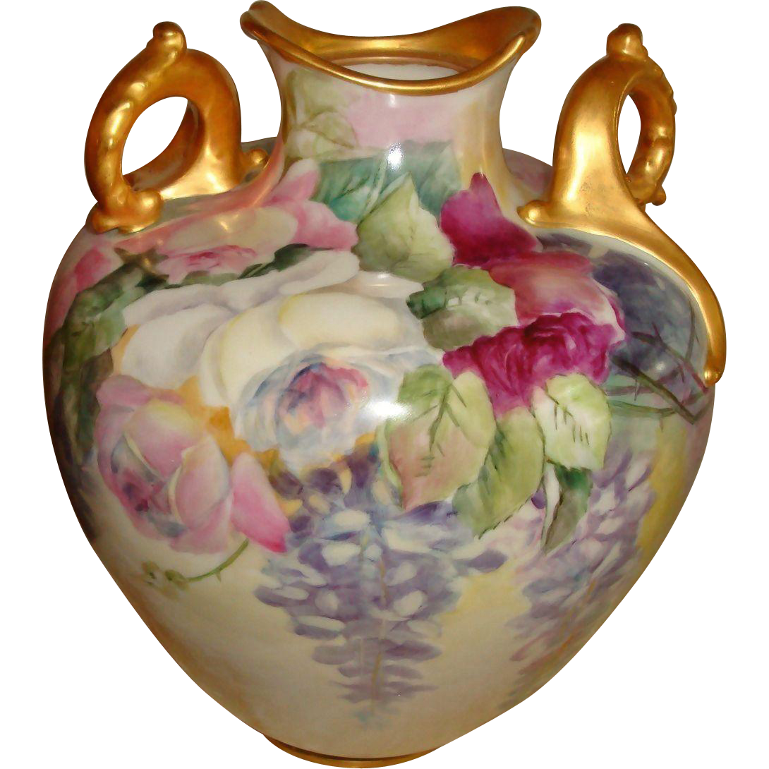 Beautiful Lenox American  Belleek Hand Painted Porcelain Vase Roses Wisteria
