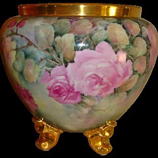 Phenomenal Antique Bavarian Hand Painted Porcelain Victorian Jardiniere Urn Vase Superb Roses