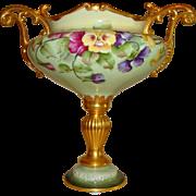Fine Antique American Belleek Jardiniere Urn Vase Compote Artist signed Gorgeous Pansies