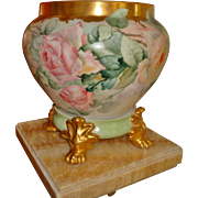 Amazing Antique Limoges France Hand Painted Porcelain Jardiniere Vase Urn Roses