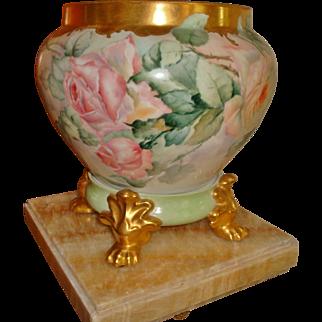 Amazing Antique Limoges France Hand Painted Porcelain Jardiniere Vase Urn Roses
