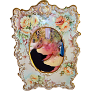 Limoges France Hand Painted Porcelain Picture Frame Roses