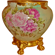 Gorgeous Hand Painted Museum Quality Antique Limoges France Porcelain Jardiniere Vase Urn Spectacular Roses