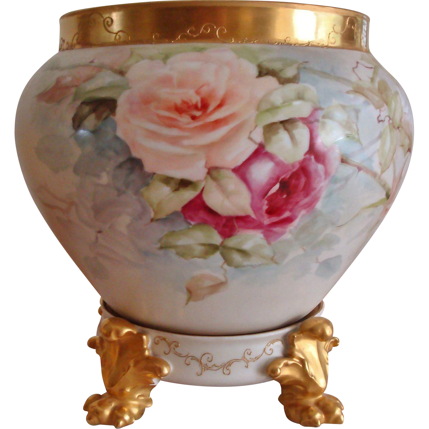 Beautiful Large Hand Painted Antique Limoges France Jardiniere Vase Urn with Matching Paw Footed Pedestal Base Pastel Roses Artist Signed