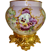 Gorgeous Hand Painted Museum Quality Antique Limoges France Porcelain Jardiniere Vase Urn Ornate Base Plinth  Pansies