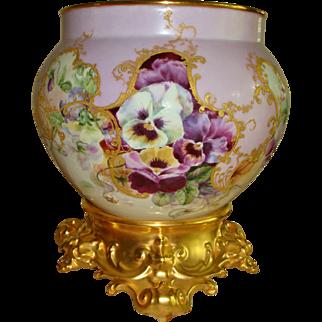 Gorgeous Hand Painted Museum Quality Antique Limoges France Porcelain Jardiniere Vase Urn Ornate Base Plinth  Pansies