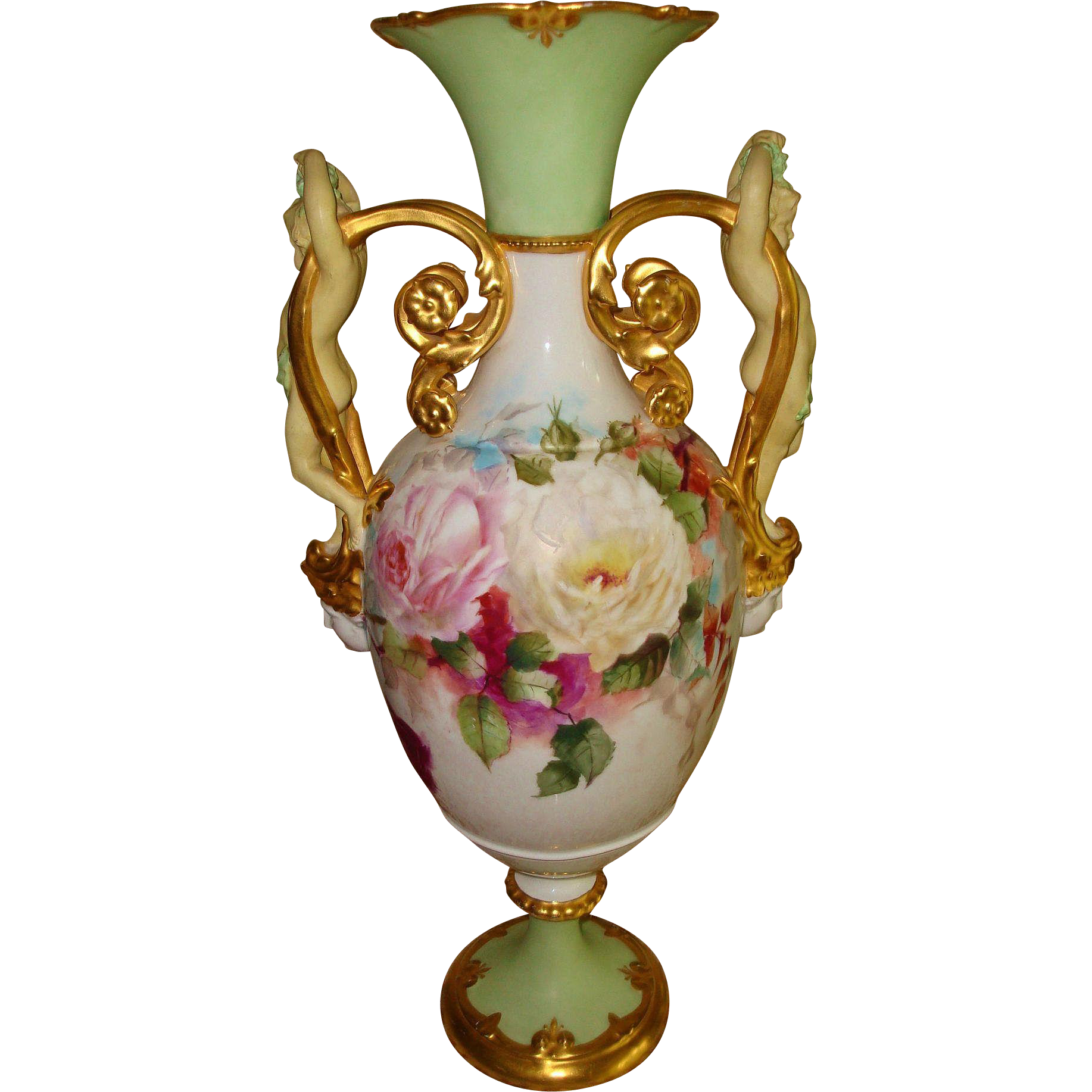 "Museum Quality Antique Royal Vienna Hand Painted Porcelain 21 3/4"" tall  Vase Urn Gorgeous Cherub and Gold Handles Beautiful Roses Artist Signed dated 1896"