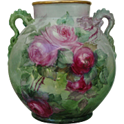 Antique Limoges France Hand Painted Porcelain Dragon Handle Vase Roses
