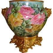 Museum Quality Antique Limoges France Hand Painted Porcelain French Jardiniere with Elephant Head Handles Spectacular Roses Ca. 1891