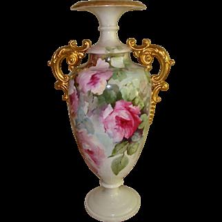 Spectacular Antique Porcelain American Belleek Vase Urn Gorgeous Hand Painted Roses