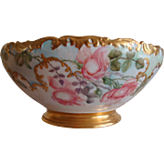 Museum Quality Antique Limoges France Hand Painted Porcelain French Punch Bowl Spectacular Roses and Cherubs Ca. 1891