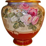 Massive Antique Limoges Museum Quality Hand Painted French  Porcelain Jardiniere Floor Vase Spectacular Roses Ca. 1900