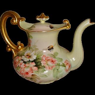 Museum Quality Antique Limoges France Hand Painted Porcelain French Coffee Pot Tea Pot E. Miler Roses. 19th Century