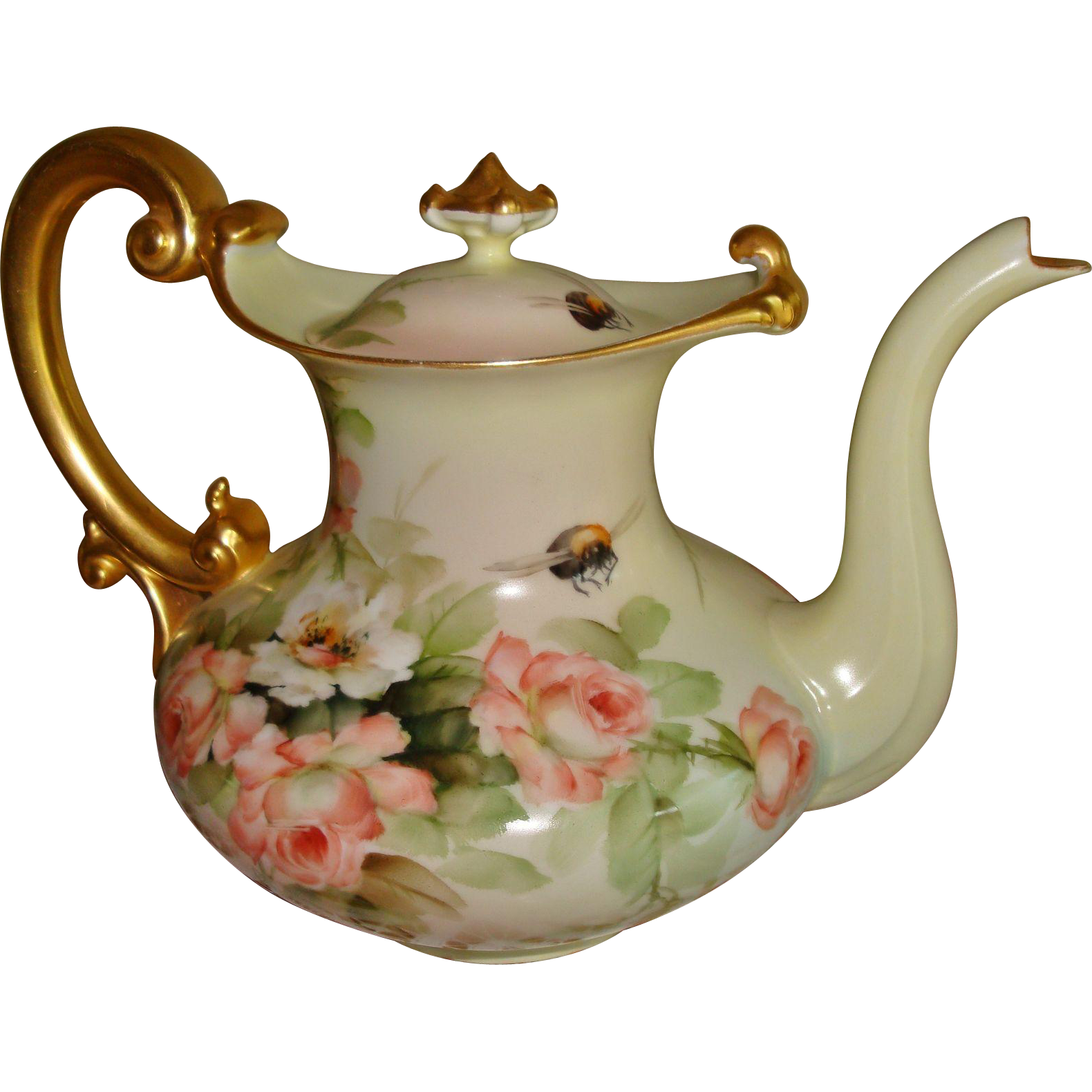 Museum Quality Antique Limoges France Hand Painted Porcelain French Coffee Pot Tea Pot E. Miler Roses. 19th Century