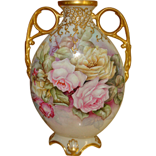 Beautiful Ornate Antique Limoges France Hand Painted Vase Urn Gorgeous Roses.